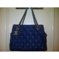 Chanel Bubble Navy Blue Calfskin Gold hw New