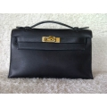 Kelly Pochette Black Swift Gold hw Second