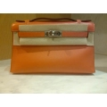 Kelly Pochette Orange Swift Palladium hw New