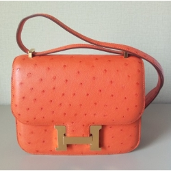 Constance size 18 in Tangerine Color in Ostrich Leather with Gold Hardware in New Condition