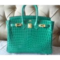 Birkin size 25 in Vert Emeraude (Emerald Green) in Nilo Shiny Finish with Gold Hard ware in Second Condition Stamp #Q (ON HOLD)