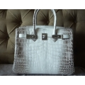 Birkin size 30 in Himalaya White Base Color in Nilo Matte Finish Leather with Palladium Hardware in Second Condition, Stamp #P (ON HOLD)