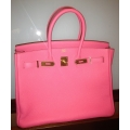 Birkin size 35 in Rose Lipstick Color in Togo Leather With Gold Hardware in New Condition