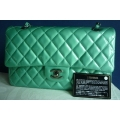 Chanel Medium in Menthe Color with Silver Chain in New Condition