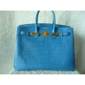 Birkin Mykonos size 35 in Alligator Matte finished with gold hard ware in brand new condition