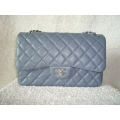 Chanel Jumbo Light grey Lamb skin square Palladium hw New