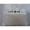 Birkin Size 35 in Blanc-Beige Color With Combo Material Swift and Toile (Canvas) With Palladium Hard Ware in Second Condition, Stamp #N