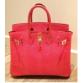 Birkin size 25 Rouge Exotique color in Lizard Leather with Gold Hard ware in New Condition #P