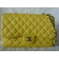Chanel Jumbo size in Lime Caviar color with Silver Chain in New Condition #13