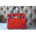 Birkin size 30 in Geranium/ Bleu Electrique Color in Nilo Shiny Finished Leather with Gold Hardware in New Condition, Stamp #Q