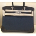 Birkin Size 35 Grilles in Denim Noir l am Toile With Matte Palladium Hardware in New Condition#P