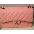 Chanel Medium size in Pink in Patent Leather (Glossy Finished) with Silver Chain Brain New #17