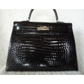 Kelly size 35 Black Color in Porosus Shiny with Palladium Hard ware in New Condition Stamp #P ON HOLD
