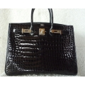 Birkin size 35 in Black Color Porosus Shiny with Palladium Hard ware in New Condition Stamp #P