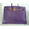 Birkin size 35 Ultraviolet Color in Togo Leather with Gold Hard ware in New Condition