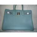 Birkin size 30 Ciel Color in Togo Leather Brushed with Palladium Hard ware in Second Condition