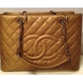 Chanel GST in Antique Gold, Caviar Grained Leather with Bronze Chain in New Condition#17