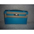 Kelly Pochette Bleu azteque Swift Palladium hw New