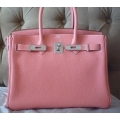Birkin size 30 Crevette in Clemence Leather in Palladium Hard Ware in Second Condition Stamp Q