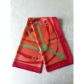 Scarf 90cm in Rouge/ Orange/ Vert in 100% Silk  Brand New