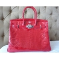 Birkin size 35 in Braise Color in Poro Shiny Leather with Palladium Hardware in New Condition