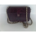 Chanel Mini Sling Bag in Phyton in Violet with Silver Chain in Second Condition