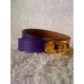 Bracelet Kelly double tour size XS in ultraviolet (purple) with gold hard ware, brand new