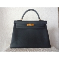Hermes kelly size 32 in bleu obscur in togo leather, gold hard ware, brand new