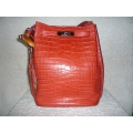 So Kelly size 22 in Rouge Indien (Similar to Bougainvillier) in Croocodile Porosus  Matte Finished with Palladium Hard ware in Second Condition, Stamp #M