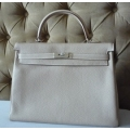 Kelly size 35 Argile Color in Clemence Leather with Palladium Hard Ware in New Condition