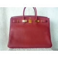 Birkin size 40 in Rouge Garance Color Togo Leather with Gold Hard ware in Second Condition, Stamp #M